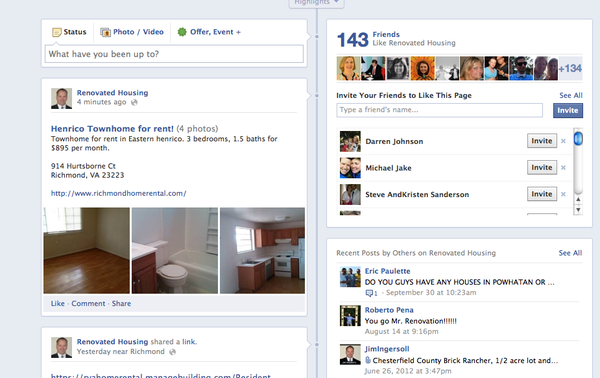 screen tenants via Facebook