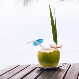 coconut drink on the beach